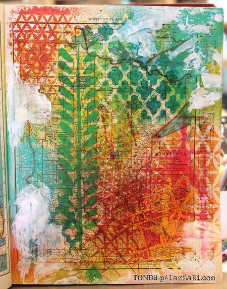 Ronda Palazzari Vintage Atlas Map Stenciled