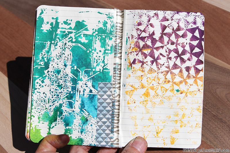 Ronda Palazzari Artsy Travel Mini Album pages 12&13 washi tape