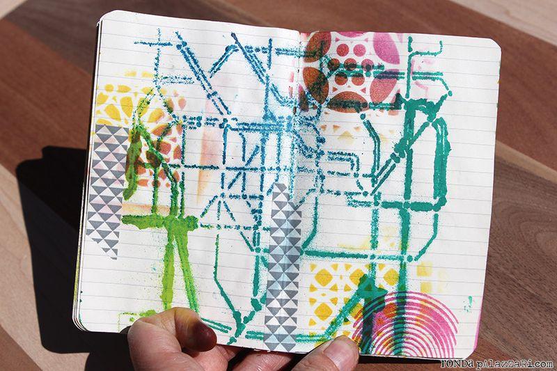 Ronda Palazzari Artsy Travel Mini Album pages 8&9 washi tape