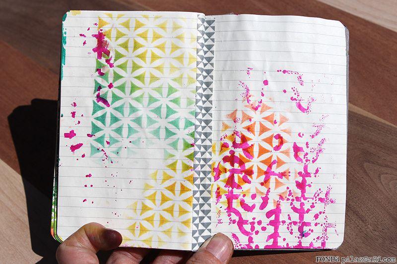 Ronda Palazzari Artsy Travel Mini Album pages 18&19 washi tape